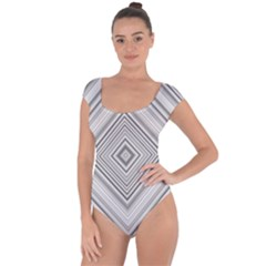 Black White Grey Pinstripes Angles Short Sleeve Leotard