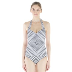 Black White Grey Pinstripes Angles Halter Swimsuit by HermanTelo