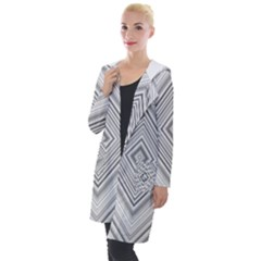 Black White Grey Pinstripes Angles Hooded Pocket Cardigan