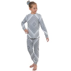 Black White Grey Pinstripes Angles Kids  Long Sleeve Set  by HermanTelo