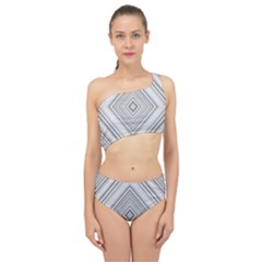 Black White Grey Pinstripes Angles Spliced Up Two Piece Swimsuit