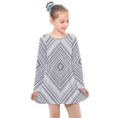 Black White Grey Pinstripes Angles Kids  Long Sleeve Dress by HermanTelo