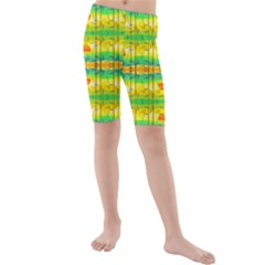 Birds Beach Sun Abstract Pattern Kids  Mid Length Swim Shorts by HermanTelo