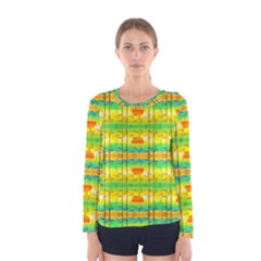 Birds Beach Sun Abstract Pattern Women s Long Sleeve Tee by HermanTelo