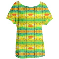Birds Beach Sun Abstract Pattern Women s Oversized Tee by HermanTelo