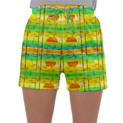 Birds Beach Sun Abstract Pattern Sleepwear Shorts
