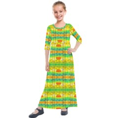 Birds Beach Sun Abstract Pattern Kids  Quarter Sleeve Maxi Dress