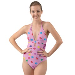 Cupcakes Food Dessert Celebration Halter Cut Out One Piece Swimsuit