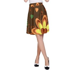 Floral Hearts Brown Green Retro A Line Skirt