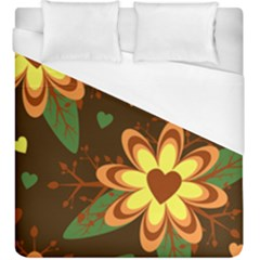 Floral Hearts Brown Green Retro Duvet Cover (king Size)