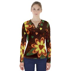 Floral Hearts Brown Green Retro V-neck Long Sleeve Top