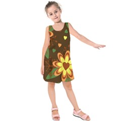 Floral Hearts Brown Green Retro Kids  Sleeveless Dress by HermanTelo