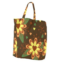 Floral Hearts Brown Green Retro Giant Grocery Tote