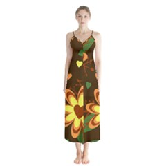 Floral Hearts Brown Green Retro Button Up Chiffon Maxi Dress