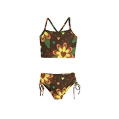 Floral Hearts Brown Green Retro Girls  Tankini Swimsuit