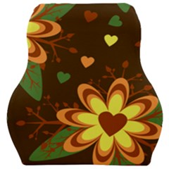 Floral Hearts Brown Green Retro Car Seat Velour Cushion