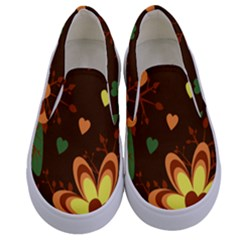 Floral Hearts Brown Green Retro Kids  Canvas Slip Ons