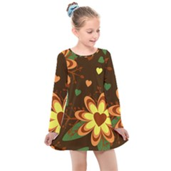 Floral Hearts Brown Green Retro Kids  Long Sleeve Dress by HermanTelo