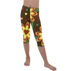 Floral Hearts Brown Green Retro Kids  Lightweight Velour Capri Leggings  by HermanTelo