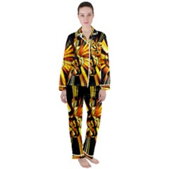 Clef Golden Music Satin Long Sleeve Pyjamas Set by HermanTelo
