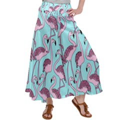 Flemish Rosa Birds Nature Fauna Flamenco Satin Palazzo Pants by HermanTelo