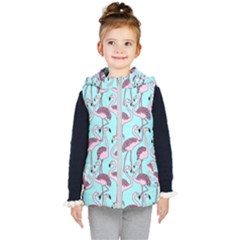 Flemish Rosa Birds Nature Fauna Flamenco Kids  Hooded Puffer Vest