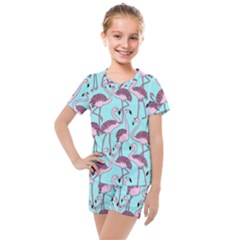Flemish Rosa Birds Nature Fauna Flamenco Kids  Mesh Tee And Shorts Set by HermanTelo