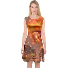 Eye Butterfly Evening Sky Capsleeve Midi Dress by HermanTelo