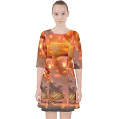 Eye Butterfly Evening Sky Pocket Dress
