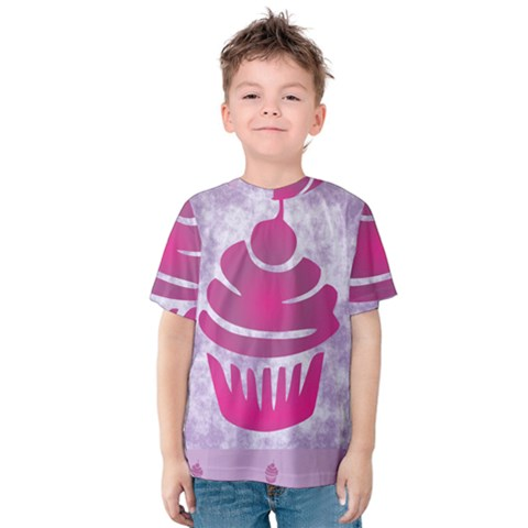 Cupcake Food Purple Dessert Baked Kids  Cotton Tee by HermanTelo