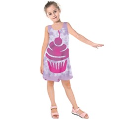 Cupcake Food Purple Dessert Baked Kids  Sleeveless Dress by HermanTelo