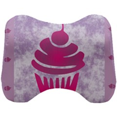 Cupcake Food Purple Dessert Baked Head Support Cushion