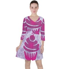 Cupcake Food Purple Dessert Baked Ruffle Dress by HermanTelo