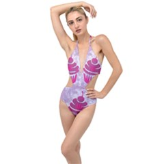 Cupcake Food Purple Dessert Baked Plunging Cut Out Swimsuit