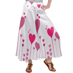 Heart Rosa Love Valentine Pink Satin Palazzo Pants by HermanTelo