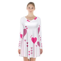 Heart Rosa Love Valentine Pink Long Sleeve Velvet V-neck Dress