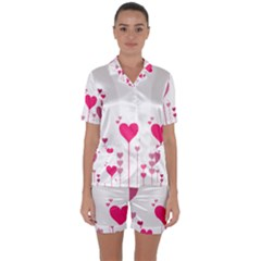 Heart Rosa Love Valentine Pink Satin Short Sleeve Pyjamas Set by HermanTelo
