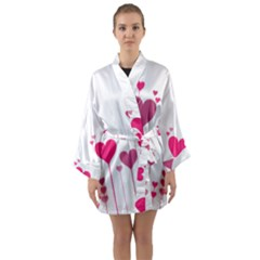 Heart Rosa Love Valentine Pink Long Sleeve Kimono Robe