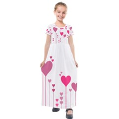 Heart Rosa Love Valentine Pink Kids  Short Sleeve Maxi Dress by HermanTelo