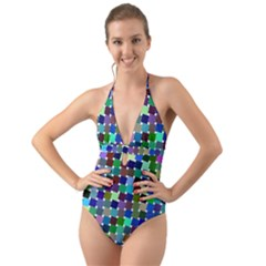 Geometric Background Colorful Halter Cut Out One Piece Swimsuit