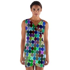 Geometric Background Colorful Wrap Front Bodycon Dress
