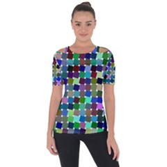 Geometric Background Colorful Shoulder Cut Out Short Sleeve Top