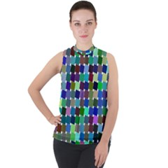 Geometric Background Colorful Mock Neck Chiffon Sleeveless Top by HermanTelo