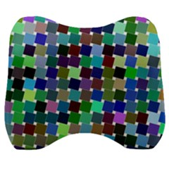 Geometric Background Colorful Velour Head Support Cushion