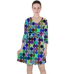 Geometric Background Colorful Ruffle Dress by HermanTelo