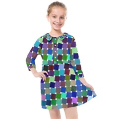 Geometric Background Colorful Kids  Quarter Sleeve Shirt Dress