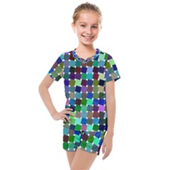 Geometric Background Colorful Kids  Mesh Tee And Shorts Set by HermanTelo