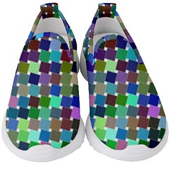 Geometric Background Colorful Kids  Slip On Sneakers by HermanTelo