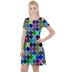 Geometric Background Colorful Cap Sleeve Velour Dress