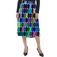 Geometric Background Colorful Classic Velour Midi Skirt